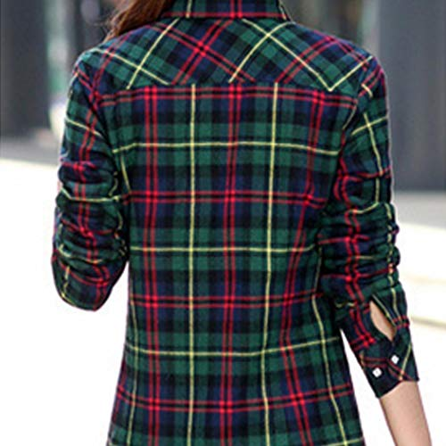 Cuello Rouge Camisas Vert Vuelto Casual Para Pagacat Mujer qU1Eppw