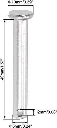 sourcing map Orificio /Único Pernos Horquilla 10mm x 50mm Cabeza Plana Acero inoxidable 304 Perno Bisagra Enlace 4uds