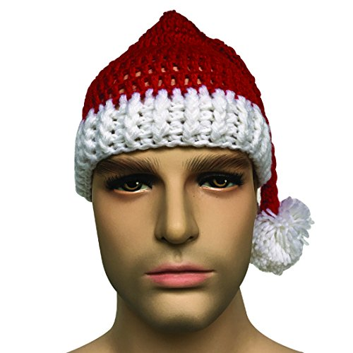 Kafeimali Unisex Christmas Tree Knitted Crochet Beanie Santa Hat Bearded Caps (Red) ()