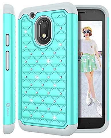 Moto G4 Play Case, Moto G Play Case, Style4U [Shockproof] Studded Rhinestone Crystal Bling Hybrid Armor Case for Motorola Moto G4 Play / Moto G Play XT1607 / XT1609 with 1 Stylus [Mint Green / (Bling Phone Cases For Moto G)