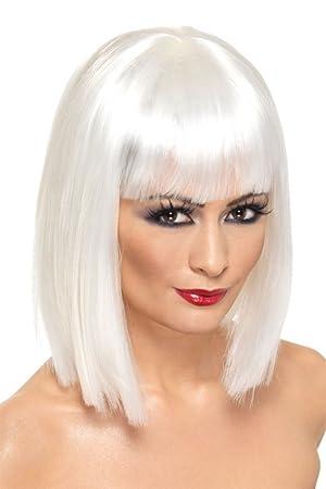 Smiffys - Peluca blanca en forma de media melena cuadrada con flequillo, para mujer