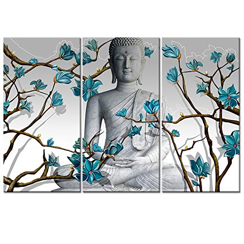 - Visual Art Decor 3 Pieces Buddha Wall Art Buddha Statue with Abstract Blue Flowers Painting Canvas Prints for Living Room Bedroom Office Large Picture Decoration (01 Buddha)
