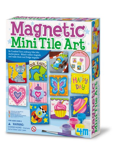 4M Magnetic Mini Tile Art - DIY Paint Arts & Crafts Magnet Kit for Kids - Fridge, Locker, Party Favors, Craft Project Gifts for Boys & Girls