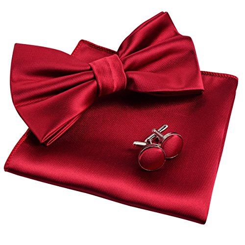 (Alizeal Mens Tuxedo Bow Tie, Hanky and Cufflinks Set (Wine Red))