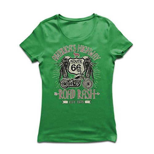 lepni.me Women's T-Shirt Route 66, America's Highway - Road Rash, Biker Shirt (Medium Green Multi (Biker Babes Print T-shirts)