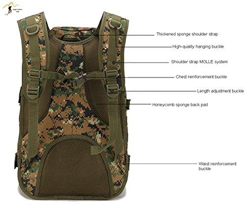 Jungle 40L Upgrade Freizeit X7Pfeil Fisch Paket MOLLE Wandern Camping Klettern Outdoor Freizeit Swordfish Paket Rucksack Tasche, Jungle Camouflage