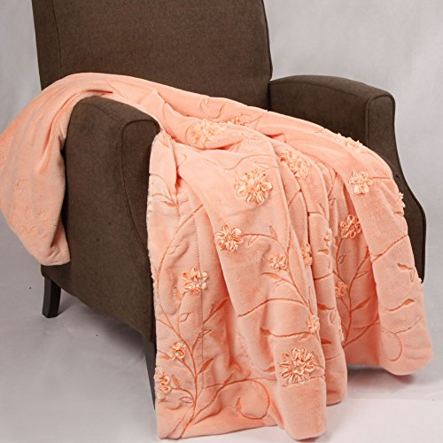 BOON Ribbon Embroidered Faux Fur Throw Ultra Soft and Warm, 50