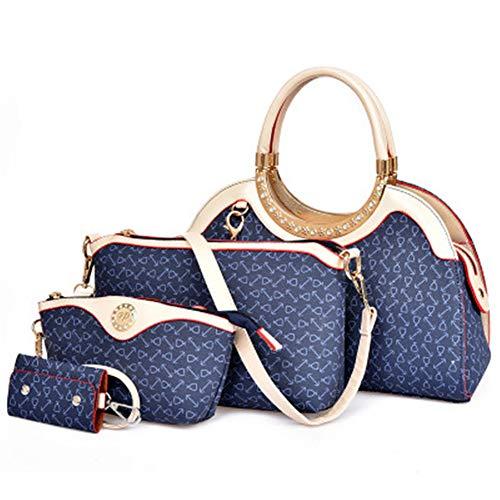 patrón moda de diagonal Mochila piezas de mano mochila hueso hombro Bolsos bolso 2015 cuatro nueva mano bolsos Azul Verano de señora Europa y diagonal América qIOAwP6rWI