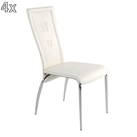 Tomasucci Lux set di 4 sedie in pelle bianca: Amazon.it: Casa e cucina