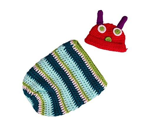 honeysuck Props de fotos de bebé gorro de punto gorro de Crochet Cocoon Caterpillar sombrero de fiesta disfraz
