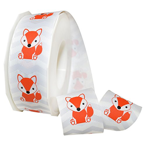 Morex Ribbon Foxy Grosgrain, Polyester, 1 1/2 inches by 25 Yard, Coral/Grey, Item 7553.38/25-409