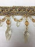 "4"" Crystal Beaded Tassel Fringe Trim TF-32/12-17 Antique Gold/Dark Gold"