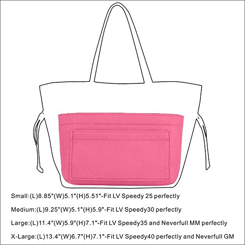 Felt Insert Bag Organizer Bag In Bag For Handbag Purse Organizer, Six Color Three Size Medium Large X-Large (Large, Pink) by ZTUJO (Image #6)