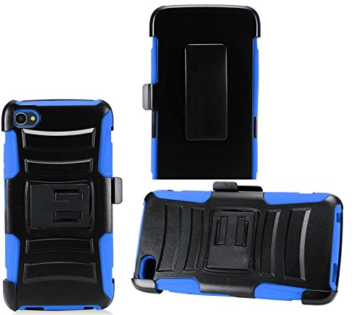 2Layer Rugged Rubber Case Cover w/Holster Belt Clip for Alcatel Idol 5 Phone (Black on Blue)