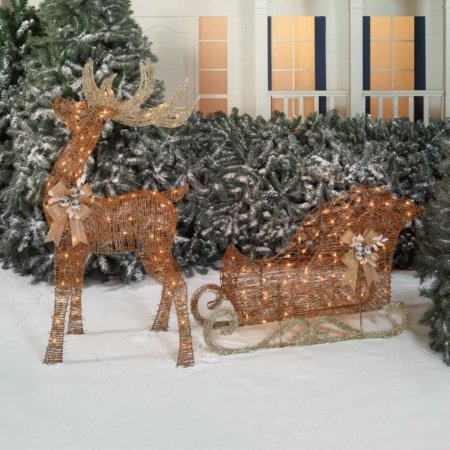 Light-Up Rattan-Look Buck and Sleigh, 52'' Buck, 42'' Sleigh by Holiday Time