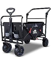 TMZ Folding Wagon Cart Collapsible Outdoor Utility Wagon Garden Shopping Cart Beach Wagon with Rubber Wheels, 264 Pound Capacity