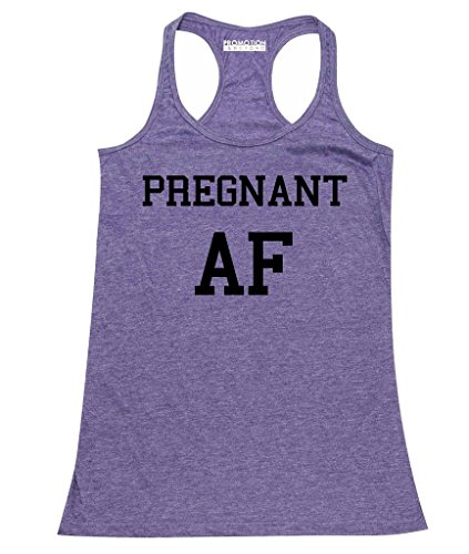 Top Novelty Maternity (P&B Pregnant AF Funny Pregnancy Announcement Women's Tank Top, L, H. Purple)