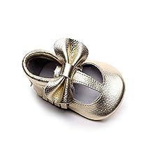 WAZZIT Unisex Baby Boys Girls Moccasins Soft Sole Tassels Bows Prewalker Anti-Slip Loafer Shoes