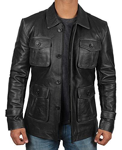 (Decrum Black Mens Lambskin Leather Jacket Car Coat for Adults | Super 4 Pocket, XS)