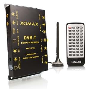 XOMAX XM-DVBT04 Receptor de TV DVB-T del coche / sintonizador / caja + puerto USB y ranura para tarjetas SD + reproducción de archivos de música, fotos y video: MPEG4 + MP3 recepción hasta 120 km / h + instalación oculta posible: external infrarrojo receptor para mando a distancia en el cable + 2 monitores conectados simultáneamente + 12V / 24V de operación para automóvil, autocaravana, camión etc.