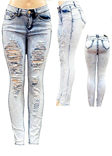 - J.L.O Acid Wash Blue Denim Stretch Jeans Destroy Skinny Ripped Distressed Pants