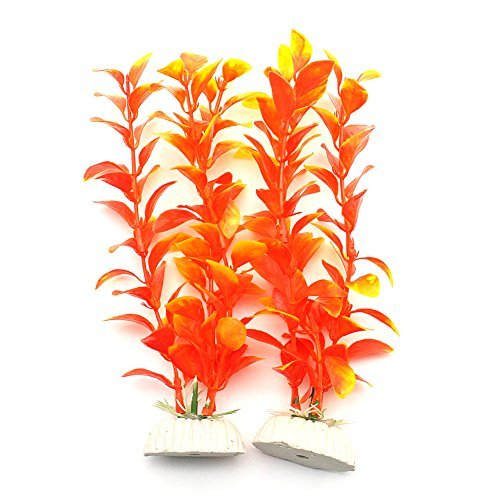 - Gold Wing 2 Pieces of Plastic Orange Artificial Plant for Aquarium Fish Tank