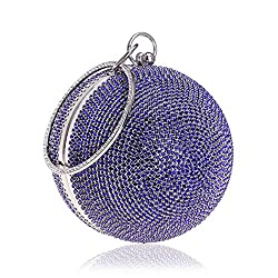 Ball Shape Clutch Purse With Blue Rhinestone & Ring Handle