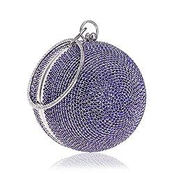 Ball Shape Clutch Purse With Blue Rhinestone & Ring Handle