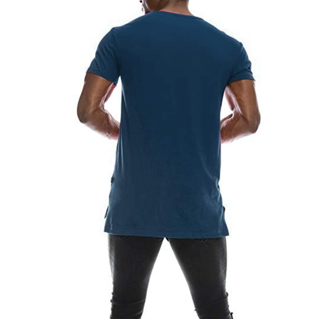Duseedik Mens Solid T-Shirt Summer Hipster Hip Hop Extended Hemline Split Side Tank Tops Muscle Blouse