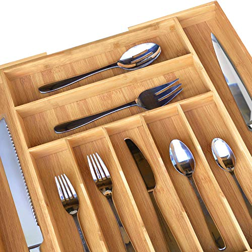 "Bamboo Kitchen Drawer Organizer - Expandable Silverware Organizer/Utensil Holder and Cutlery Tray (20""-17.5"", Natural)"