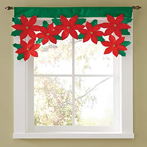(Laz-Tipa - Dropshipping Christmas Poinsettia Floral Petal Window Valance Cloth Curtains Decorations New Decoration Supplies IC971221)
