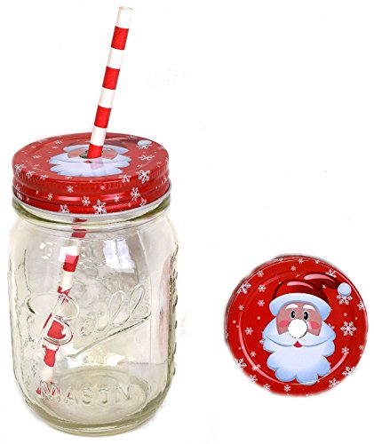 Just Artifacts 12pcs Regular Mouth Mason Jar Daisy Lid Holiday Santa - LID ONLY