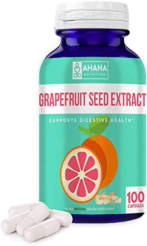 Grapefruit Seed Extract Capsules by Ahana Nutrition – GSE Powder Supplement Serves as an Antioxidant and Supports The GI Tract and Urinary Tract 900mg 100 Easy to Swallow Capsules 100 Capsules