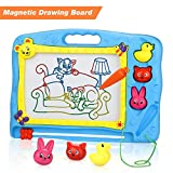 Lenbest Magnetic Drawing Board, Colorful Erasable Doodle Scribble Boards with Three Animal Stampers Educational Toys to Draw for Kids - Blue