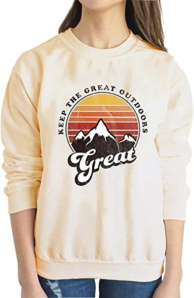 Get Lost in The Great Outdoors Sweatshirt Women Casual Long Sleeve Pullover Crewneck Tee Tops