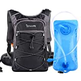 OXA Hydration Backpack with 2L Water Bladder, Thermal Insulation Layer Keeps Water Cool (up to 4 Hours), for Hiking, Running, Cycling, Climbing (Black)