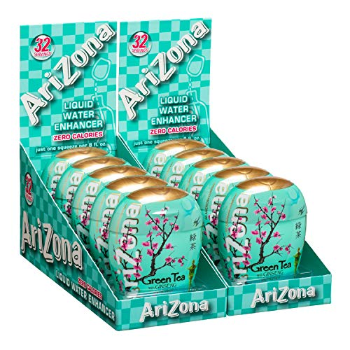 AriZona Green Tea with Honey and Ginseng Liquid Water Enhancer LWE (Pack of 10), Low Calorie Single Serving, Liquid Drink Mix, Just Add Water for Deliciously Refreshing Iced Tea Drink Lee (Honey Lemon Water)