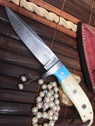 Handmade Damascus Hunting Knife - Bone and Turquoise Handle