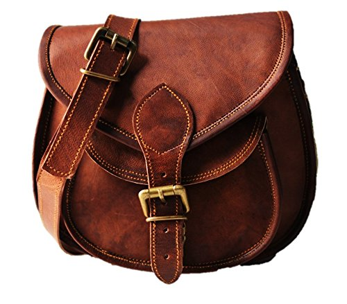 Leather Genuine Vintage Bag Handmade Style Purse Women amp;F S Shoulder Brown Body Leather Cross TxAqY8nwR