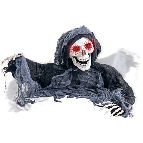 Animated Halloween Pumpkins (Halloween Haunters Animated Skeleton Zombie Grim Reaper Groundbreaker Graveyard Prop Decoration - 2/3 Life-Size, Shaking Head, Moving Arms, Scary Howls, LED Eyes Flash - Haunted House Grave,)