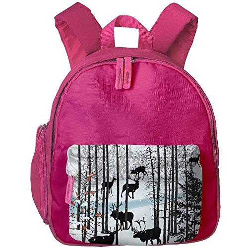 Kid Rucksack Students Book Winter Reindeer Backpak School Bo