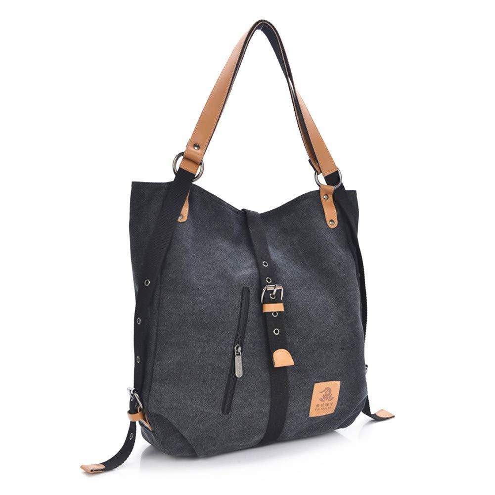 Women Casual Canvas Shoulder Bags Fashion Backpack Convertible Tote Bags Work Bag School Bag (Black)
