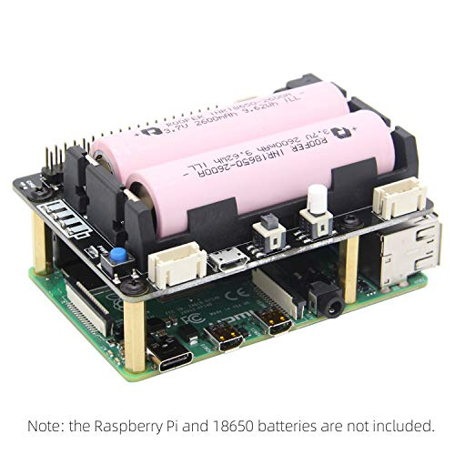Geekworm Raspberry Pi 4 Model B/3B+/3B UPS HAT Safe Shutdown Shield with Auto Power On Function X700 Power Management Board