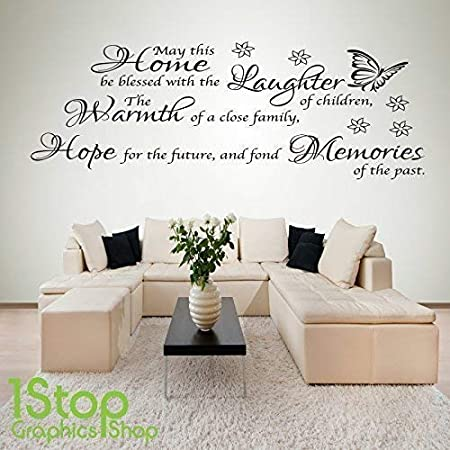 MAY THIS HOME BE BLESSED Vinyl Decal Wall Art Sticker
