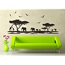 ufengke® African Grasslands Animals Black Elephant Giraffe Wall Decals, Children's Room Nursery Removable Wall Stickers Murals