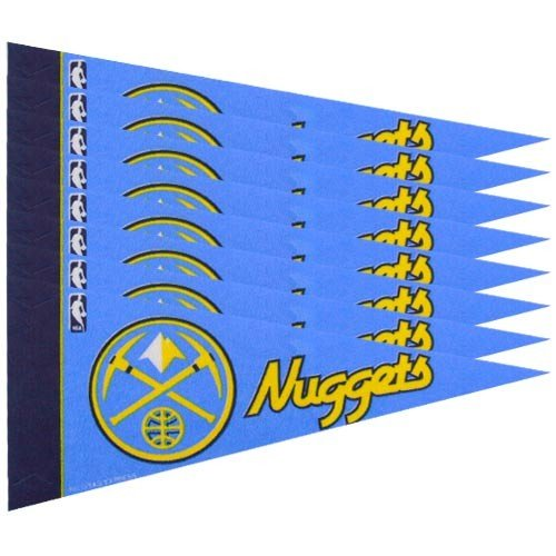 Rico NBA Nuggets 8 Pc Mini Pennant Pack Sports Fan Home Decor, Multicolor, One Size