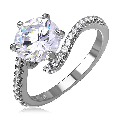 (Prong Set Round Cubic Zirconia Center Tension Set Ring Rhodium Plated Sterling Silver Size 6)