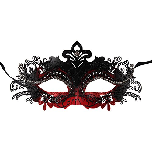 Vanki 1 Pcs Masquerade Mask Laser Cut Metal Shiny Rhinestone Party Mask,Red&Black