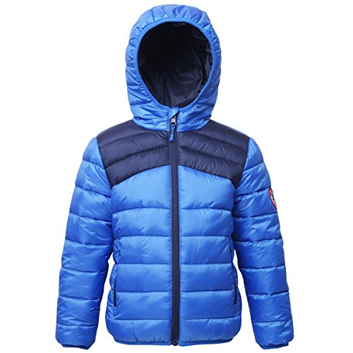 Rokka&Rolla Boys' Lightweight Reversible Water Resistant Hooded Quilted Poly Padded Puffer Jacket, Palace Blue/Night Sky, XL/XG (14-16)
