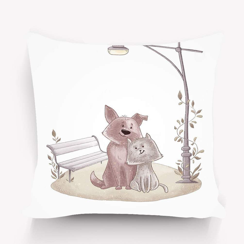 Sherry Shop Throw Pillow Cushion Cover Cute Dog Cat Cartoon Couple Animals Relationship Funny Lovely Pets Love Together Puppy Kitty Child 20x20in Amazon Co Uk Kitchen Home